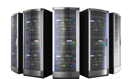 Multiple Web Hosting Servers Racks Protected with Dust Free Cabinets Enclosures